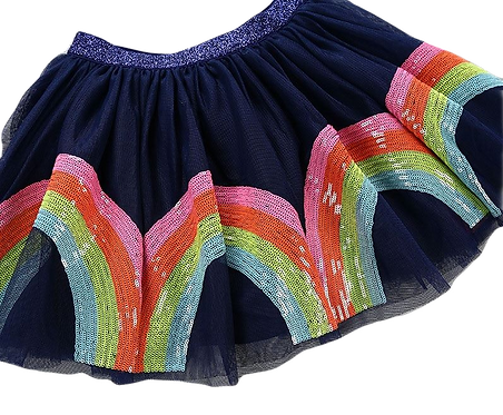 Hula Lula Sequin Girls Skirt in Navy
