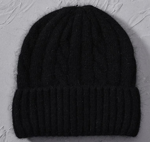 Cashmere Blend soft Knitted hats Age 6 to Adult-Black