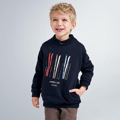Mayoral Boys Ski print sweatshirt in navy