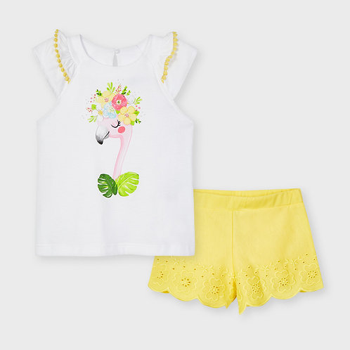 Mayoral Embroidered short set Yellow