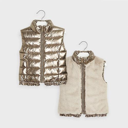 Mayoral Girls Reversible vest in Old Gold