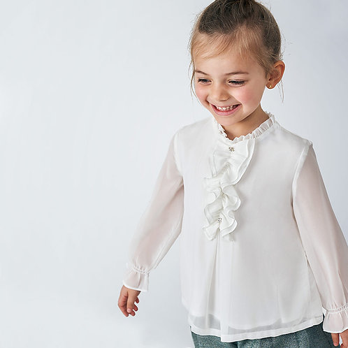 Mayoral Girls Gauze blouse in Natural