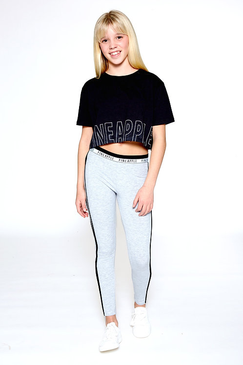 Pineapple Logo Print Crop T-Shirt in Black