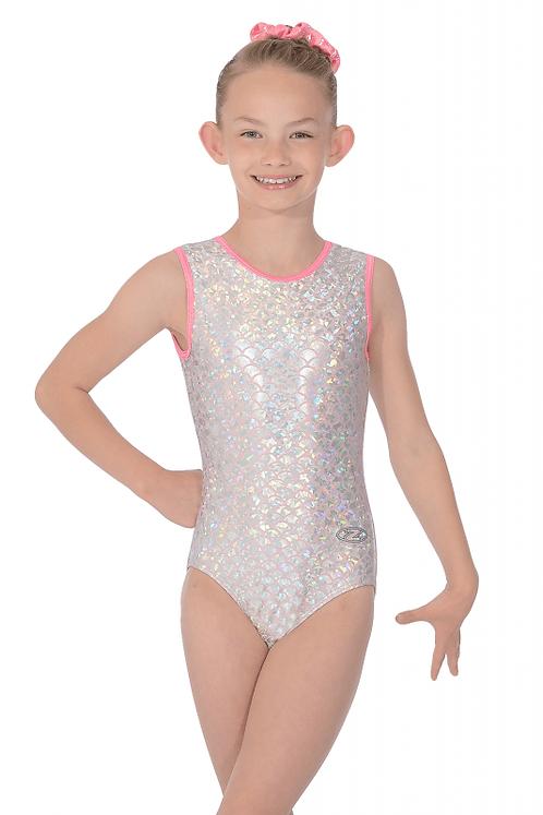 Princess Print Girls Round Neck Sleeveless Shine Gymnastic Leotard