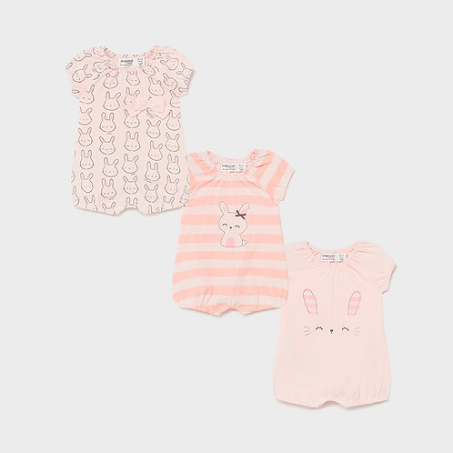 Mayoral short onesie set of three Baby Rose