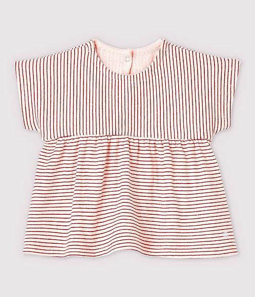 Petit Bateau-Baby Girls' Short-Sleeved Stripy Tube Knit Blouse
