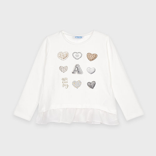 Mayoral Girls L/s hearts t-shirt in Nat-champa