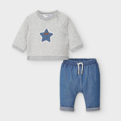 Mayoral Pants and pullover Set in Blue denim