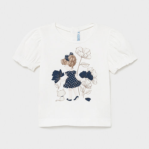 Mayoral s/s printed tshirt Whit-Navy