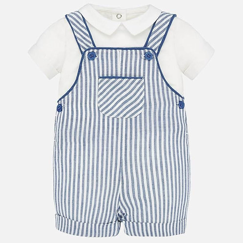 Mayoral Plain shirt and striped dungarees set for newborn boys