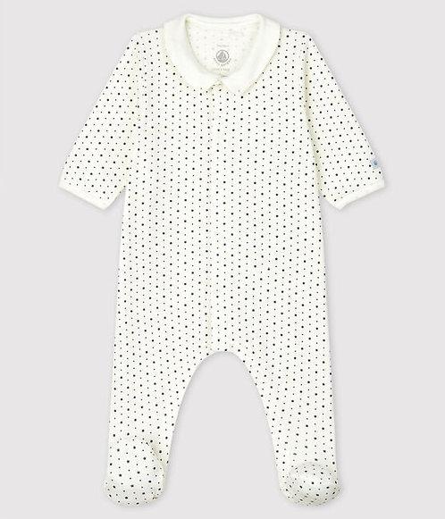 Petit Bateau-Babies' Starry Organic Cotton Sleepsuit with Collar