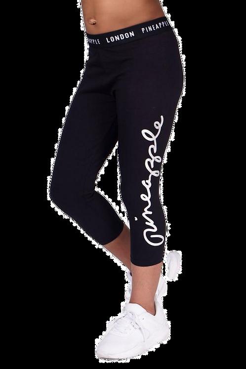 Pineapple Dancewear Girls Script Crop Leggings in Black