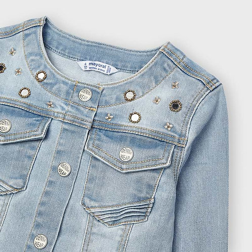 Mayoral applique jacket Bleached denim