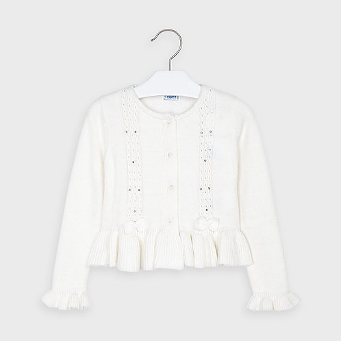 Mayoral Girls Tricot cardigan in Natural