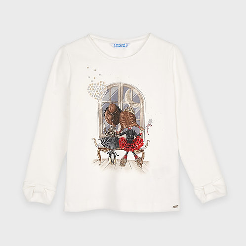 Mayoral Long sleeved t-shirt with bow cuffs for girl