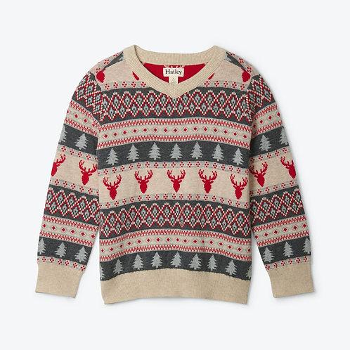 Hatley 'Fair Isle Stags' V-Neck Sweater