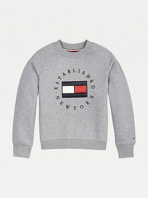Tommy Hilfiger Flag Logo Crew Neck Sweatshirt:Grey