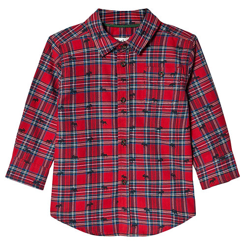 Hatley Holiday Plaid Moose Baby Button Down Shirt for Baby