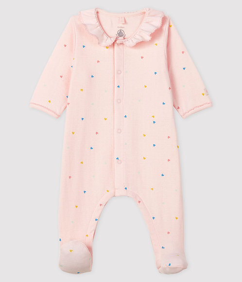 Petit Bateau Baby Girl's Baby Girls' Tube Knit Pink Sleepsuit with Hearts