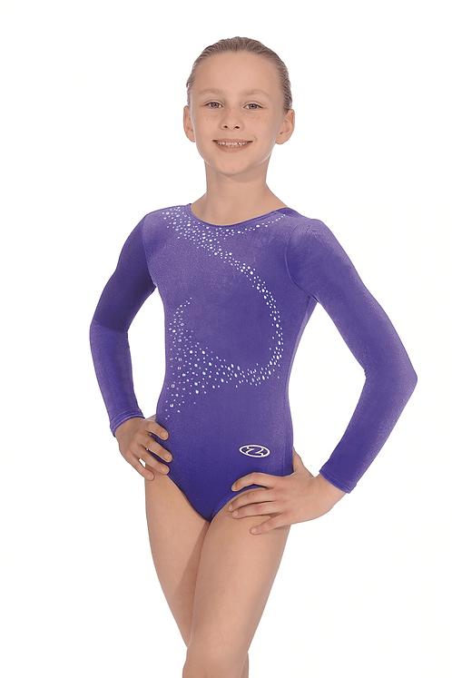 Crystal Motif Sleeveless Gymnastics Leotard Long Sleeve-Purple