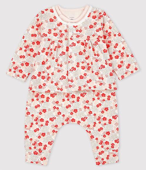 Petit Bateau-Babies' Pink Organic Cotton Clothing - 3 piece set