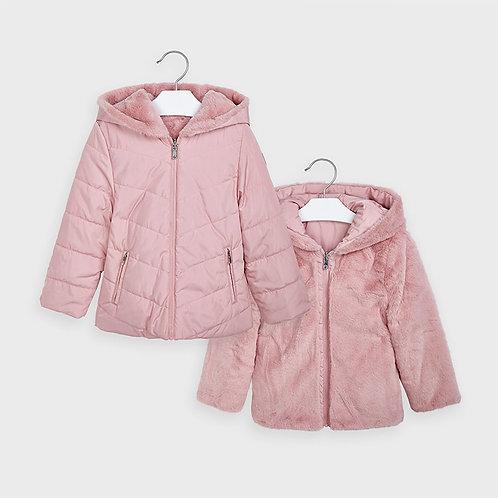 Mayoral Girls Reversible fur jacket in Blush