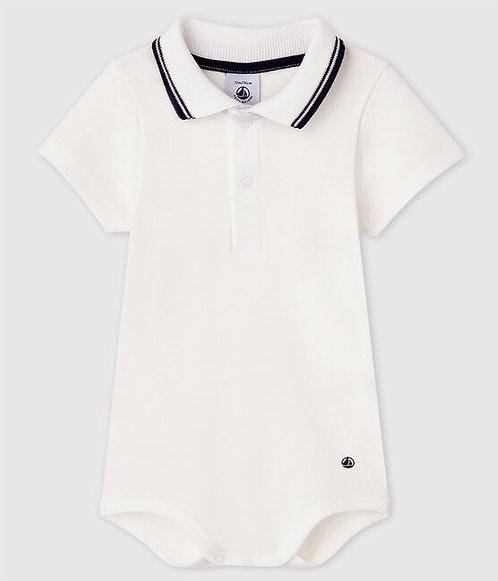 Petit Bateau-Baby Boys' Short-Sleeved Cotton Bodysuit with Polo Shirt Collar