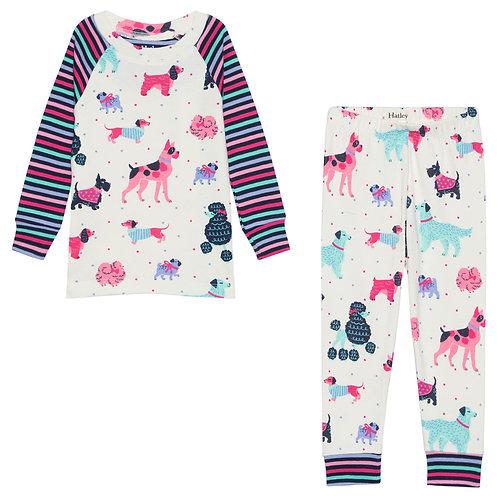 Hatley Colourful Pups Organic Cotton Raglan Pajama Set