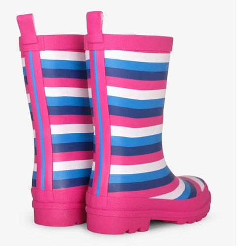 Summer Stripe Matte Rain Boots