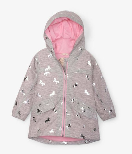 Hatley Waterproof Playful Ponies Microfiber Rain Jacket