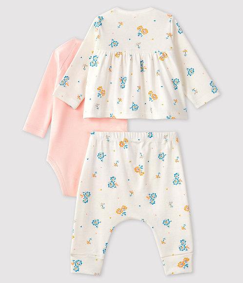 Petit Bateau Baby Girls' Ribbed Clothing - 3-piece set
