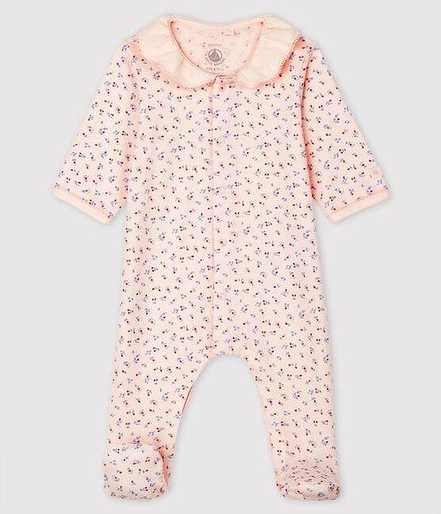Petit Bateau-Babies' Pink Organic Cotton Sleepsuit with Collar