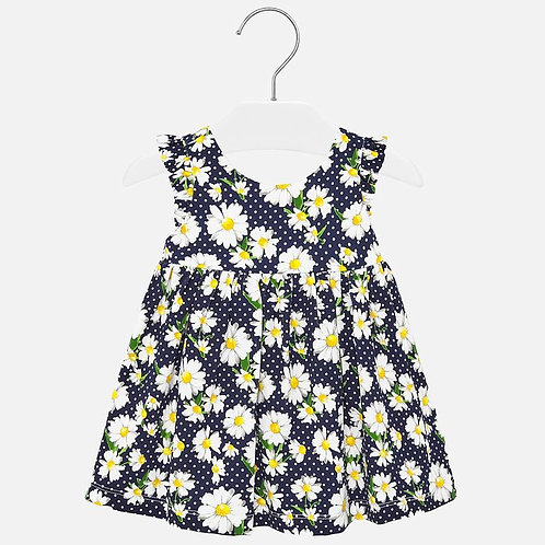 Mayoral Daisy patterned dress for baby girls in navy