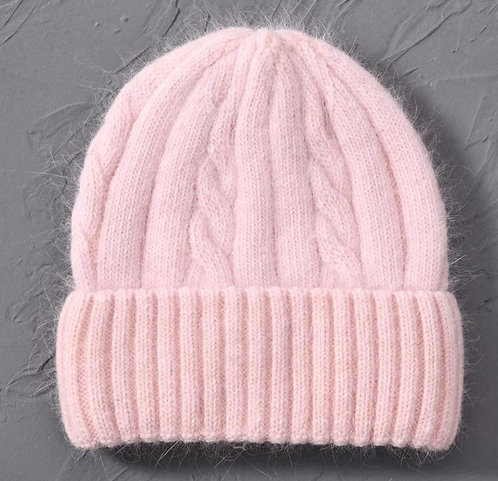 Cashmere Blend soft Knitted hats Age 6 to Adult-pink