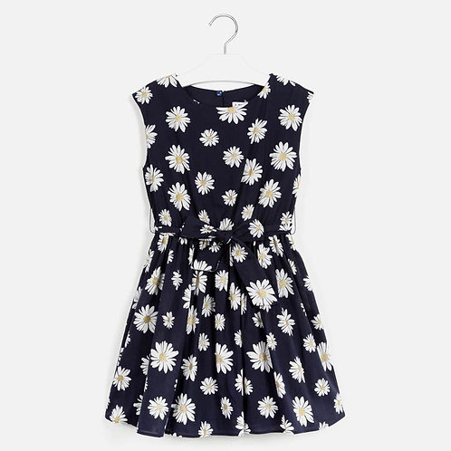 Mayoral Daisy patterned dress for girl navy 10-14y