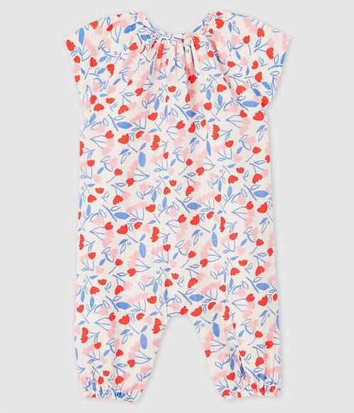 Petit Bateau-Babies Baby Girls' Floral Organic Cotton Easy-Care Jumpsuit