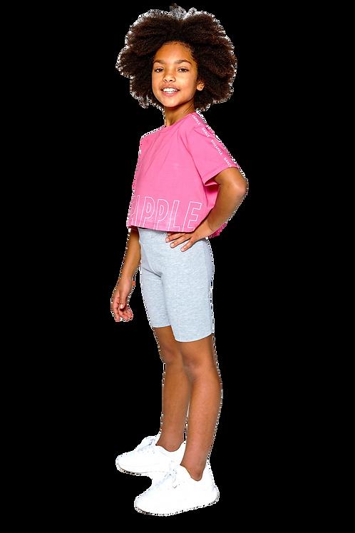Pineapple Logo Print Crop T-Shirt in pink