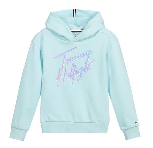Tommy Hilfiger Girls  Signature Logo Hoodie-Blue
