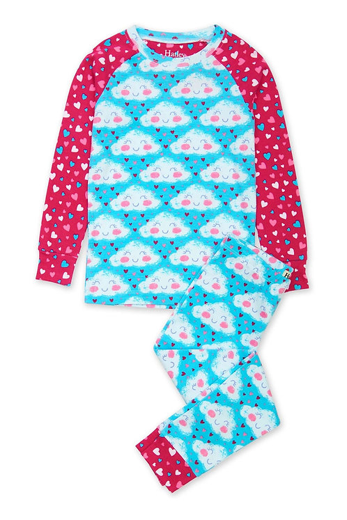 Hatley Cheerful Clouds Organic Cotton Raglan Pajama Set