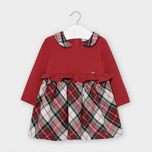 Mayoral Combined checked dress for baby girl