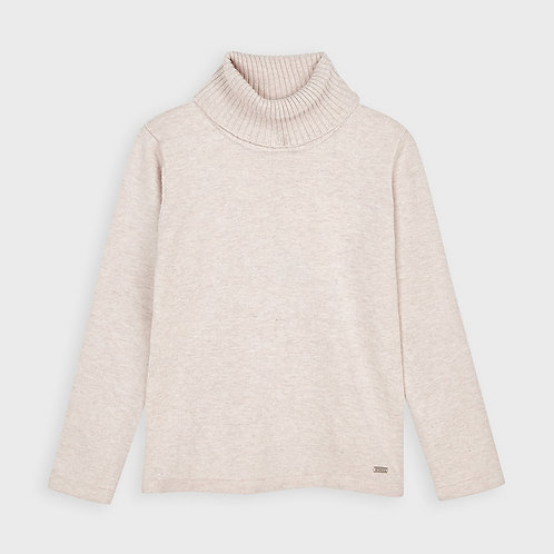 Mayoral Girls Basic Knitted Turtleneck in Sand