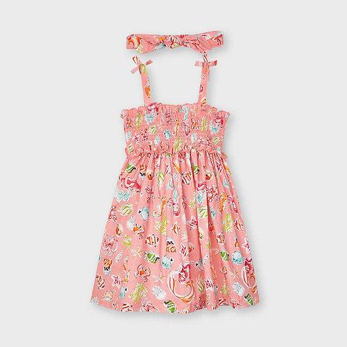 Mayoral Dress with smock Flamingo