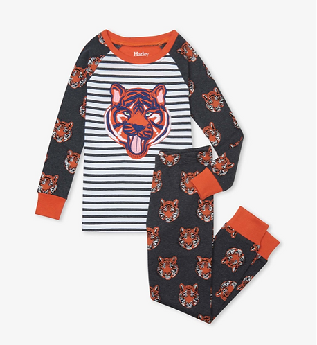 Hatley Fierce Tigers Organic Cotton Raglan Pyjama Set
