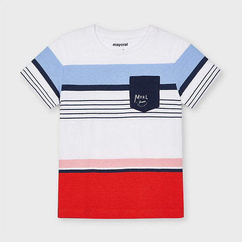 Mayoral striped t-shirt cyber red