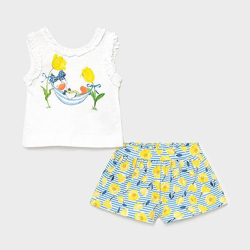 Mayoral Printed shorts set Yellow