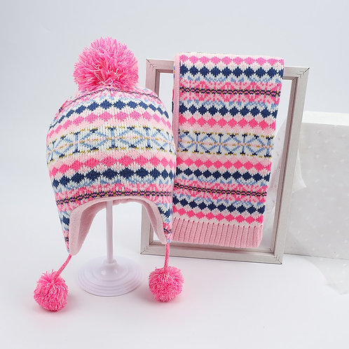Girls Hat & Scarf set with Fleece lining