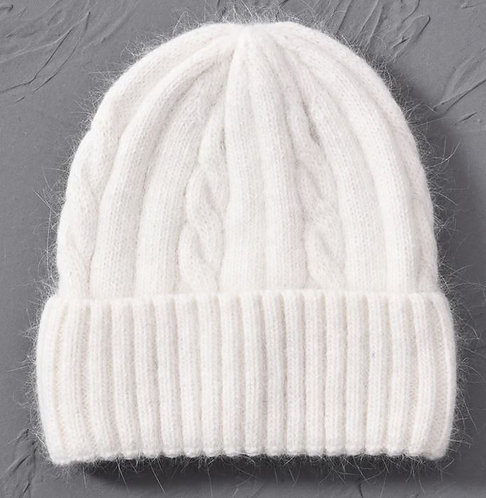 Cashmere Blend soft Knitted hats Age 6 to Adult-White