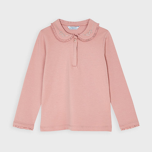 Mayoral Girls L/s basic polo in Blush