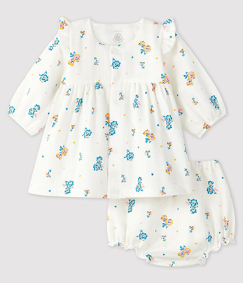 Petit Bateau Long-sleeved floral dress with baby girl bloomers in linen fabric