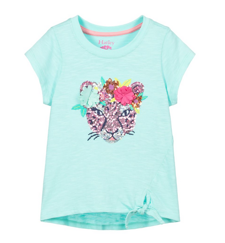 Hatley Blue sequin cat T-shirt
